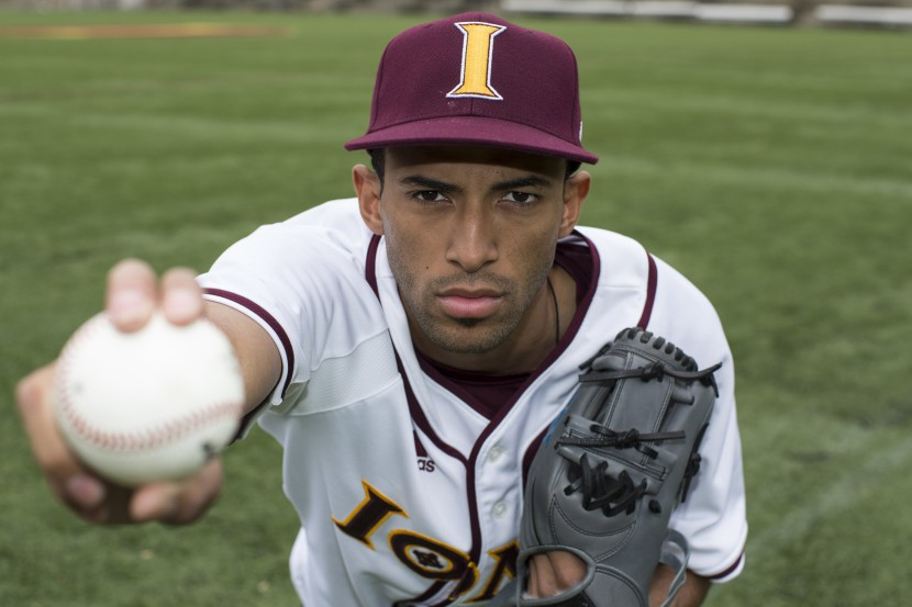NEW YORK, NY - MAY 23:  Iona college pitcher Mariano Rivera Jr. son of former Yankee pitcher Marino Rivera poses for photos around the Iona campus in New Rochelle NY. Thursday, May 22, 2014 (Photo by Anthony Causi)