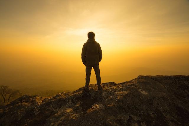 Man-watching-the-sunset